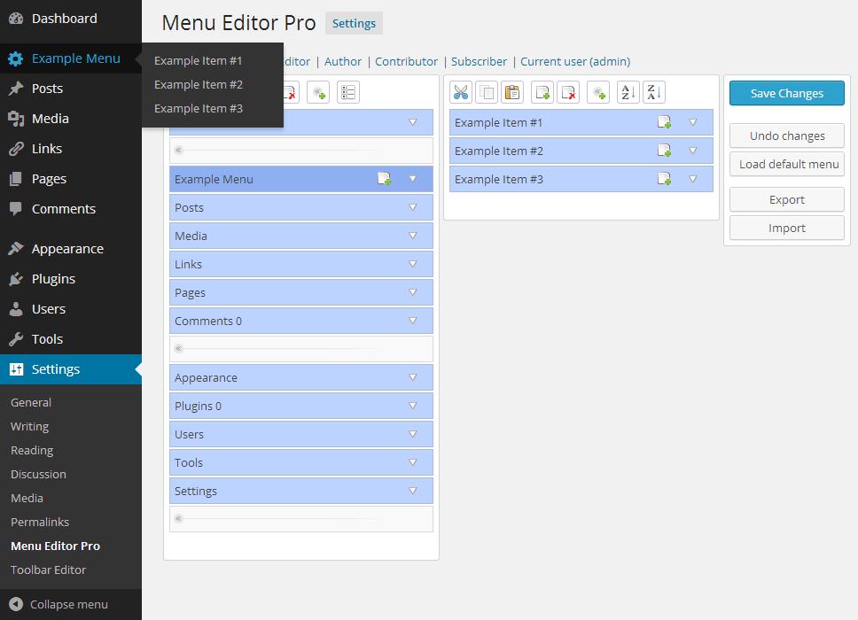 Resultado de imagen para admin menu editor wordpress