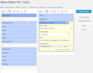 Menu editor interface