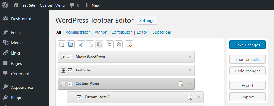 Admin Menu Editor Pro WordPress Toolbar Editor Addon
