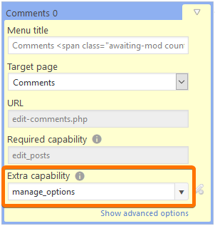 "Screenshot of menu properties with the ""extra capability"" field highlighted"