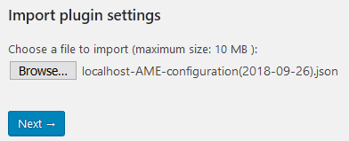 Import settings - Step #1