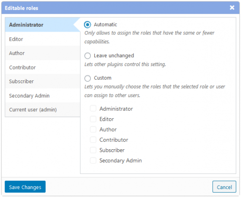 Screenshot of the Editable Roles dialog that was added in version 2.12