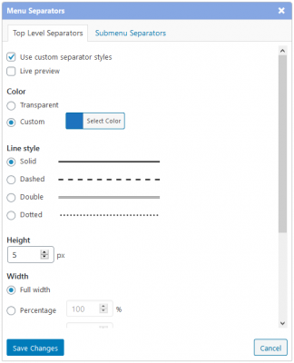 Separator settings dialog added in version 2.12